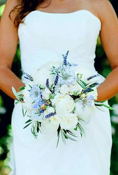 Beautiful Bride's Bouquet: Fresh Lavender, Blue Scabiosa Flowers, White Spray Garden Roses, White Garden Roses, White Peonies & Foliage