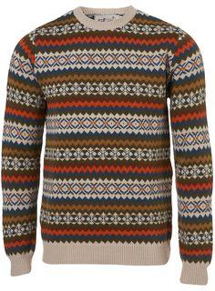 topman retro pattern crew neck jumper