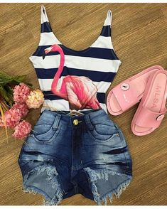 Causal summer style with denim shorts and flamingo bodysuit. Dress Outfits, Kids Outfits, Summer Outfits, Casual Outfits, Cute Outfits, Look Fashion, Teen Fashion, Fashion Outfits, Womens Fashion