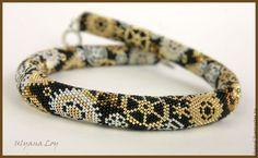 """Купить Бисерный жгут """"Стимпанк"""" - золотой, украшение на шею, жгут вязанный из бисера, ожерелье из бисера"""