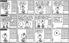 The school building sighs in the strip from August 1974 and first appears with a thought bubble in the one from September Peanuts Cartoon, Peanuts Gang, Peanuts Comics, Snoopy School, Peanut Pictures, Sally Brown, Snoopy Comics, Thought Bubbles, Charlie Brown Peanuts