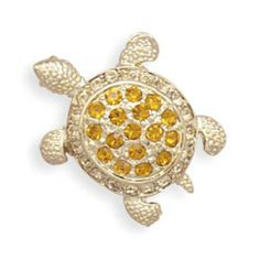 MMA Silver - Small Orange Swarovski Crystal Turtle Fashion Pin MMA Silver. $30.00