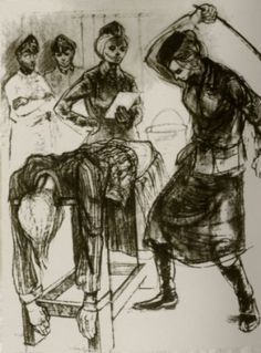 Drawing of beating. Artist unknown. Ravensbruck.
