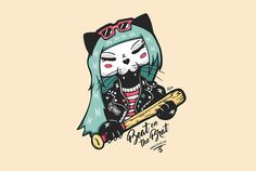 Ramona Cat Ganbatte Black Cat Punk Cat Illustration