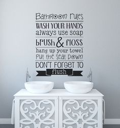 Bathroom Decor   Bathroom Rules   Bathroom Wall Decal   Bathroom Wall Decor    Vinyl Decals