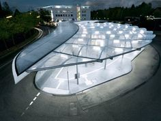 This is a bus station in Hamburg. Modern architecture just works in Germany.
