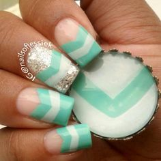 59 Trendy Ideas For Nails Design Teal Turquoise Chevron Funky Nails, Love Nails, How To Do Nails, Pretty Nails, Nail Art Designs 2016, Gel Nail Designs, Cute Nail Designs, Nails Design, Chevron Nail Art