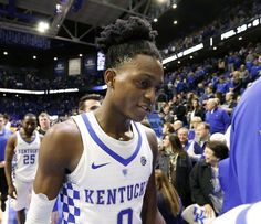 Kentucky Wildcats guard De'Aaron Fox (0) left the court after the University of Kentucky defeated the University of Tennessee in Rupp Arena in Lexington, Ky., Tuesday, February 14, 2017. This is second half college basketball action. UK won 83-58.