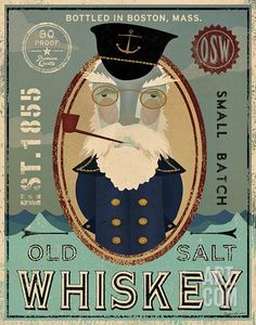 Fisherman III Old Salt Whiskey Art Print by Ryan Fowler at Art.com