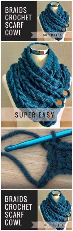 Sie Poncho Schal Crochet Scarf For Beginners - Crochet and Knitting Pat. Sie Poncho Schal Crochet Scarf For Beginners – Crochet and Knitting Patterns Crochet Braids, Crochet Scarves, Crochet Shawl, Crochet Clothes, Crochet Hooks, Knit Crochet, Knitting Scarves, Crochet Stitches, Diy Braids