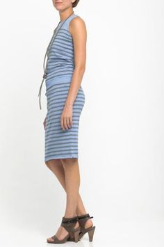 Knitted dress CUNO (sky steel duo)