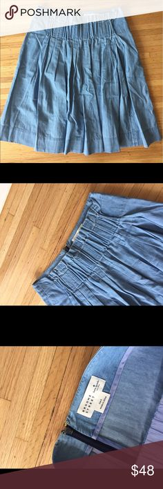 Kate Spade blue denim chambray skirt - size 4 Super cute pleated denim skirt. Super soft material. Great for spring and summer! In great condition!! kate spade Skirts Midi
