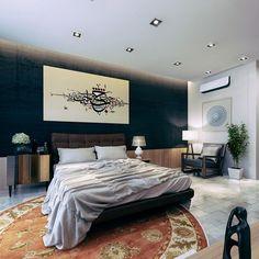 peinture noire, faux plafond design avec éclairage à LED, carrelage sol imitation marbre e tapis rond multicolore