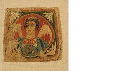 Embroidered representation of an archangel, a rare example of Coptic weaving. 6th c. 0.15x0.16 m. (ΓΕ 6988)  Coptic Art. Benaki Museum. Greece