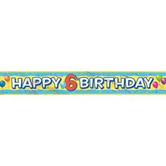 12ft Foil 6th Birthday Banner ** Click image for more details.