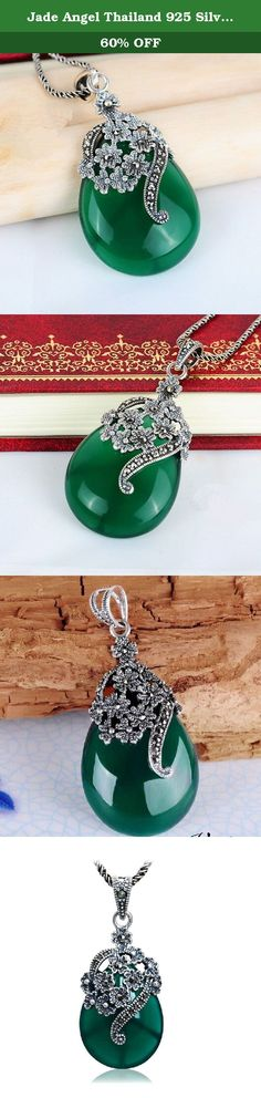 Jade Angel Thailand 925 Silver Pendant Necklace with Stone and Marcasite (Green). The pendant is made out of sterling silver with marcasite and cubic zirconia. We guarantee it is sterling silver ,If not full refund.