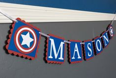 Captain America Name Banner - Marvel Avengers Super Hero Birthday Banner  https://www.etsy.com/listing/106907369/captain-america-name-banner-red-white