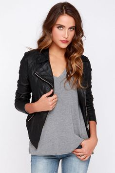 """BB Dakota Merlyn Black Vegan Leather Jacket: Top off your glam cocktail number with a bit of moto-chic from this jacket. Sleek vegan leather has a cool crinkly look shaping this moto jackets collared, asymmetrical front (with exposed silver hardware) and long sleeves with matching zipper cuffs. Two zipper pockets rest at front above a stylish pointed hem. Fully lined. Jacket measures 5"""" longer in front. Wipe clean only XS $91"""