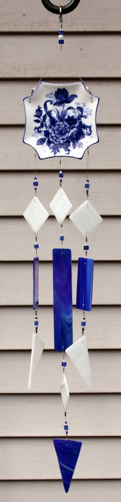 Cobalt Blue Stained Glass Wind Chimes Indoor by BerlinGlass