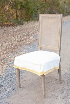 Ivory & French Yellow Chair Seat Cover