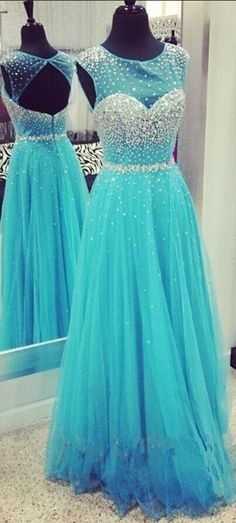luxury Eveing dresses SEXY Chiffon Tulle A-Line Prom Dress long A-Line DRESSES BLUE Evening PARTY DRESSES