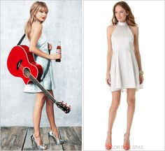 Diet Coke commercial | June 2013 Alice + Olivia 'Corina Short Trapeze Dress' - $148.50 (70% off, final sale!) Props to the people of Diet Coke for catering to Taylor's sparkly taste. They couldn't have picked a better designer than Tay's party dress...