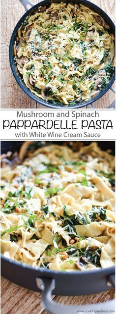 Recipe for Mushroom and Spinach Pappardelle Pasta with White Wine Cream Sauce. Dinner is served! | www.cookingandbee...