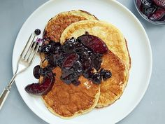 The perfect hybrid of flapjacks and crepes, these protein-packed pancakes are low in calories and fat. The blueberry-peach sauce is made without any added sugar, relying for sweetness on the natural sugars from the fruit and pineapple juice.