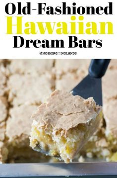 Old-Fashioned Hawaiian Dream Bars by Noshing With The Nolands will add a bit of the tropics into your day. You will be devouring these in no time! Hawaiian Deserts, Hawaiian Dessert Recipes, Luau Desserts, Hawaiian Dishes, Pineapple Desserts, Easy Desserts, Delicious Desserts, Pineapple Coconut, Hawaiian Luau