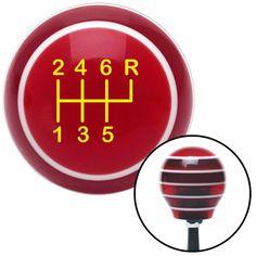 Yellow Shift Pattern 24n Red Stripe Shift Knob with M16 x 15 Insert