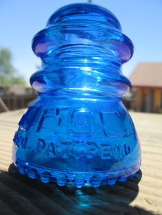 Beautiful Babson Surge Peacock Blue Glass Insulator Colored or Stained