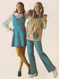 January 1973 - fashion, baby doll tops, clogs, flared pants