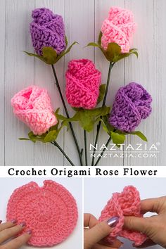 Learn How to Crochet Simple Origami Rose from a Circle by Donna Wolfe from Naztazia