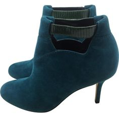 Pre-owned Sarah Flint Sarah Flint Weston Ankle Booties ($279) ❤ liked on Polyvore featuring shoes, boots, ankle booties, blue, women shoes heels, suede leather boots, slip on boots, blue booties, sarah flint boots and blue suede booties