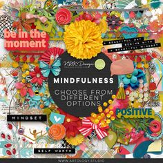Mindfulness is the quality of being present and fully engaged with whatever we're doing at the moment — free from distraction or judgment, and aware of our thoughts and feelings without getting caught up in them. It can also be a great stress reliever. Why not try some mindfulness when you create with this collection? Revel in the bold colors of tangerine, teal, aqua and red. Or soothe your soul with the many soft pastels. Just let go and see where the journey takes you. Card Patterns, Thoughts And Feelings, Scrapbook Supplies, Pattern Paper, How To Relieve Stress, Different, Word Art, Bold Colors, Beautiful Day