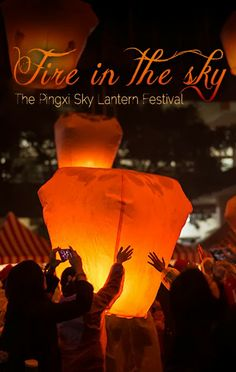 Pingxi Sky Lantern Festival is an amazing festival that happens during the Chinese new year in Taiwan. Kevin Su Photography had the opportunity to document this amazing festival and make a short video. Floating Lanterns, Sky Lanterns, Lantern Festival, Chinese New Year, Festivals, Fire, Amazing, Movie Posters, Photography