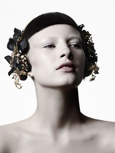 fall/ winter 2012 suzy o'rourke's collection is all about gilt placed in different centuries (as it seems) always in an elegant combination with black silk hand crafted petals or branches.