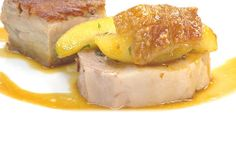 ... Pork Loin, Pork Belly and Caramelized Apples with broccoli and mustard