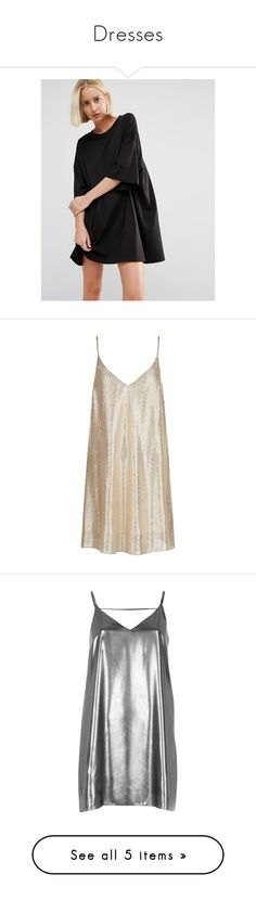 """""""Dresses"""" by mia-rickard-green ❤ liked on Polyvore featuring dresses, black, tall dresses, t-shirt dresses, round neckline dress, oversized jersey dress, round neck dress, vestidos, gold and gold slip dress"""