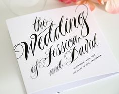 ravishing script tri-fold wedding program from Shine Wedding Invitations   article on getting your wedding programs to your guests