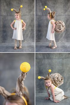 Snail Costume: Brown Kraft Paper, Masking tape, Headband, Styrofoam Balls, Ribbon, Glue Gun  1) Crumple up brown paper. Roll  wrap. Use tape (temporary). Add glue, remove tape.   2) Make another half shell and glue the two sides together.   3) Make backpack with square cardboard  ribbon. Glue to shell.  4) Make headband with styrofoam balls.