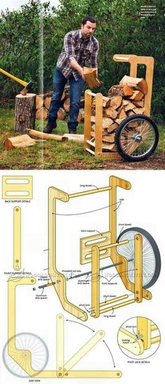Firewood Cart Plans - Outdoor Plans and Projects - Woodwork, Woodworking, Woodworking Plans, Woodworking Projects Woodworking Projects Diy, Woodworking Videos, Woodworking Wood, Popular Woodworking, Woodworking Store, Woodworking Techniques, Woodworking Classes, Woodworking Templates, Woodworking Inspiration