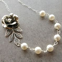 Silver+Rose+Bridal+Necklace+Wedding+Jewelry+Silver+door+luxedeluxe,+$58.00