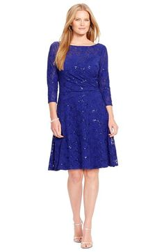Lauren Ralph Lauren Sequin Lace Side Ruched Dress (Plus Size) available at #Nordstrom