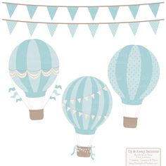 Vintage Boy Hot Air Balloons Clipart with Digital Papers