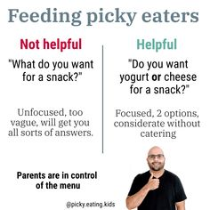 Give options and let your child decide which of the two options they prefer. That allows you to get your picky eater involved in the decision process, while still being strategic with your options! Sometimes you can throw in a new food, sometimes a favourite… You are being considerate without catering and that is key👍🏼
