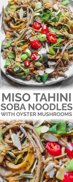 A soba noodle stir-fry, made with oyster mushrooms, vegetables and a rich miso tahini sauce: just what you need to enjoy a comforting dinner within 15 minutes. Vegan, gluten-free and made from just a few simple ingredients. Quick Vegan Meals, Vegan Dinner Recipes, Entree Recipes, Delicious Vegan Recipes, Vegan Dinners, Side Dish Recipes, Beef Recipes, Whole Food Recipes, Vegetarian Recipes