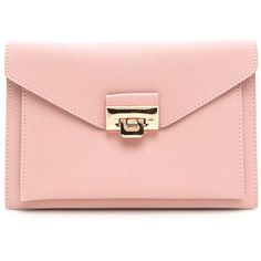Double Dare Faux Leather Purse (€26) ❤ liked on Polyvore featuring bags, handbags, shoulder bags, purses, bolsas, clutches, pink, faux leather handbags, shoulder strap bags and man bag