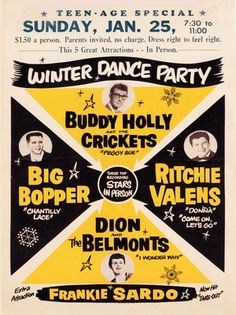 Winter Dance Party concert poster: Buddy Holly, Richie Valens, The Big Bopper, Dion & The Belmonts - January 25, 1959