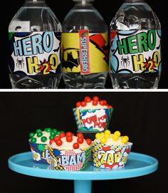Superhero Water bottle and cupcake wrappers